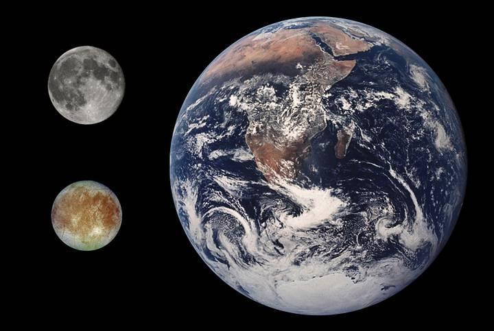 Comparación de tamaño entre la Tierra, la Luna y Europa.