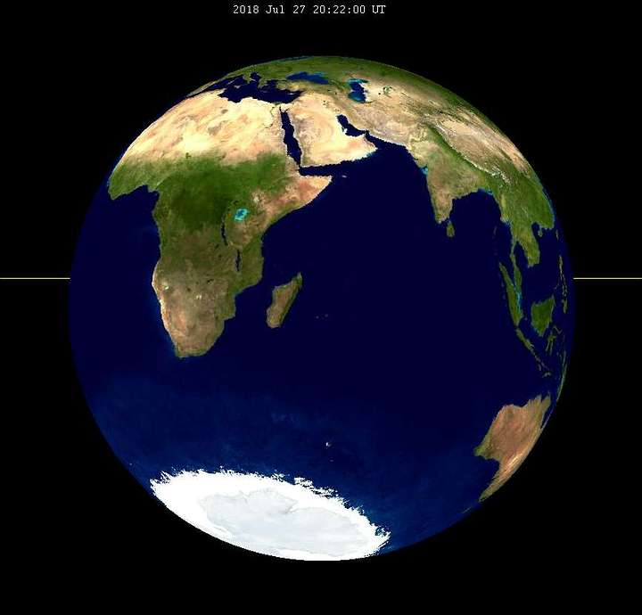 Esta es la cara de la Tierra que apuntará hacia la Luna cuando suceda el eclipse más largo del siglo.