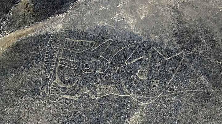 Fotografía aérea de uno de los geoglifos descubiertos en Palpa, que limitan con Nazca.