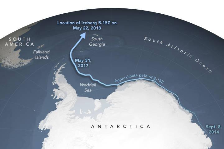 Ubicación actual del iceberg.