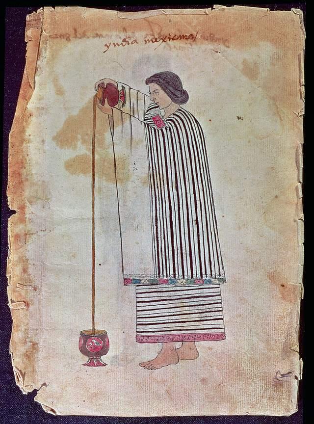 Escena de mediados de siglo XVI que retrata a una mujer indígena preparando chocolate.
