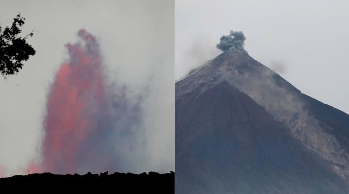 Izquierda, Kilauea; derecha: volcán de Fuego.