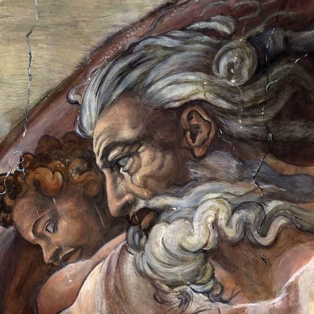 El clásico rostro de Dios retratado en el techo de la Capilla Sixtina, pintado por Miguel Ángel alrededor del año 1511. Parte del fresco 'La Creación de Adán'.