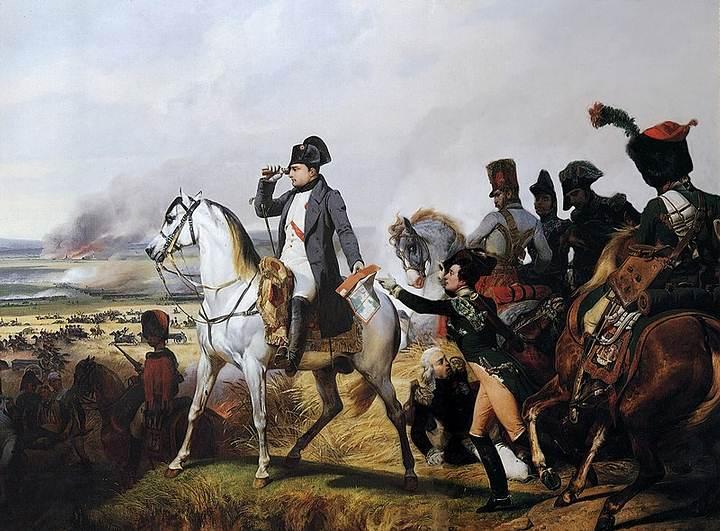 Napoleón en Wagram, pintado por Horace Vernet (Galería de las Batallas, Versalles).