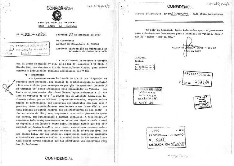Documento desclasificado que describe el avistamiento de un ovni en diciembre de 1977 en Bahía, Brasil.
