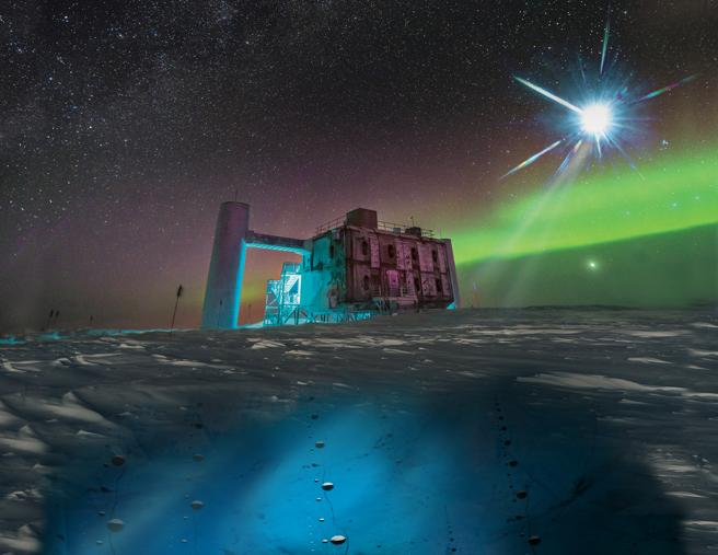 Ilustración artística de una fuente distante de neutrinos sobre una foto real del laboratorio IceCube en el polo sur.